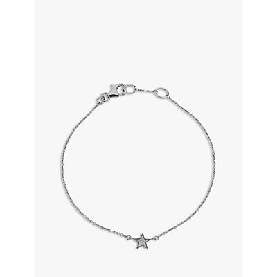 Image of  			   			  			   			  Hot Diamonds Glint 9ct White Gold Diamond Star Chain Bracelet