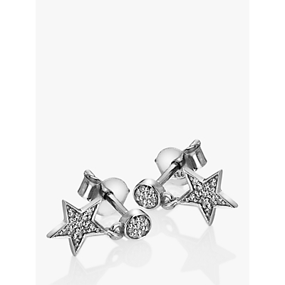 Image of Hot Diamonds Glint 9ct White Gold Star Drop Earrings