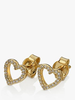Hot Diamonds 9ct Gold Diamond Ripple Heart Stud Earrings