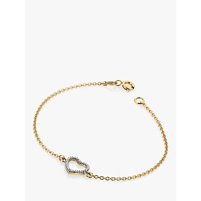 Image of            Hot Diamonds 9ct Gold Diamond Ripple Heart Chain Bracelet, Gold