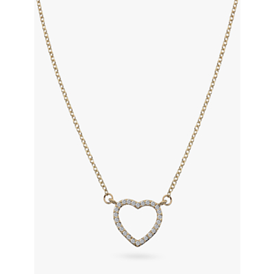 Image of  			   			  			   			  Hot Diamonds 9ct Gold Diamond Ripple Heart Pendant Necklace