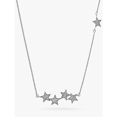 Image of  			   			  			   			  Hot Diamonds Glint 9ct White Gold Diamond Multi Star Necklace