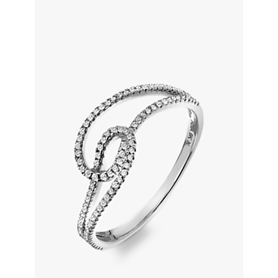 Image of  			   			  			   			  Hot Diamonds 9ct White Gold Diamond Flow Ring