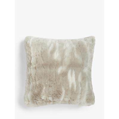 John Lewis & Partners Marbled Faux Fur Cushion, Natural