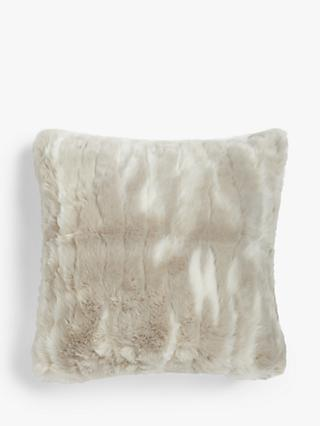 John Lewis & Partners Marbled Faux Fur Cushion, Natural