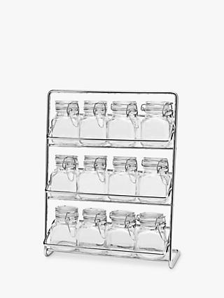 Hahn Pisa Freestanding Steel Spice Rack with 12 Airtight Clip-Top Glass Jars