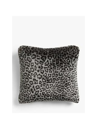 John Lewis & Partners Faux Fur Cushion, Arctic Ocelot
