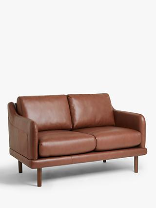 House by John Lewis Sweep Small 2 Seater Leather Sofa, Dark Leg, Contempo Castanga
