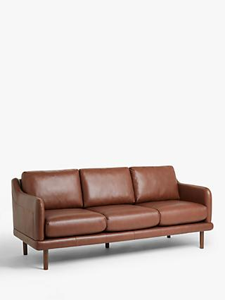 House by John Lewis Sweep Large 3 Seater Leather Sofa, Dark Leg, Contempo Castanga