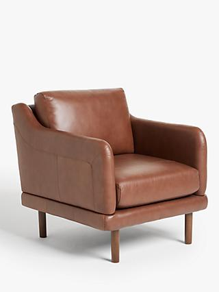 House by John Lewis Sweep Leather Armchair, Dark Leg, Contempo Castanga