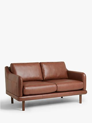 House by John Lewis Sweep Medium 2 Seater Leather Sofa, Dark Leg, Contempo Castanga