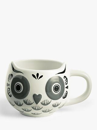John Lewis & Partners Owl Mug, 400ml, Grey/White