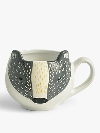 John Lewis & Partners Badger Mug, 400ml, Black/White