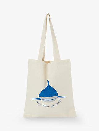 People Tree X BBC Earth Our Blue Planet Shark Shopping Bag, White