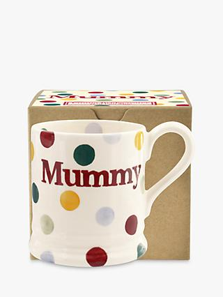 Emma Bridgewater Polka Dot 'Mummy' Half Pint Mug, White/Multi, 284ml