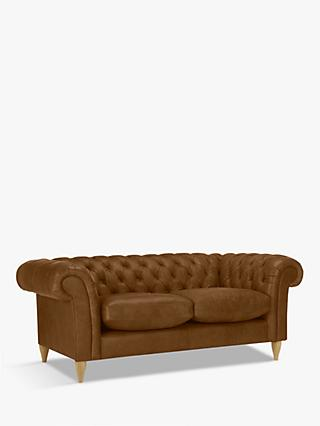 John Lewis & Partners Cromwell Chesterfield Small 2 Seater Leather Sofa, Light Leg, Demetra Light Tan