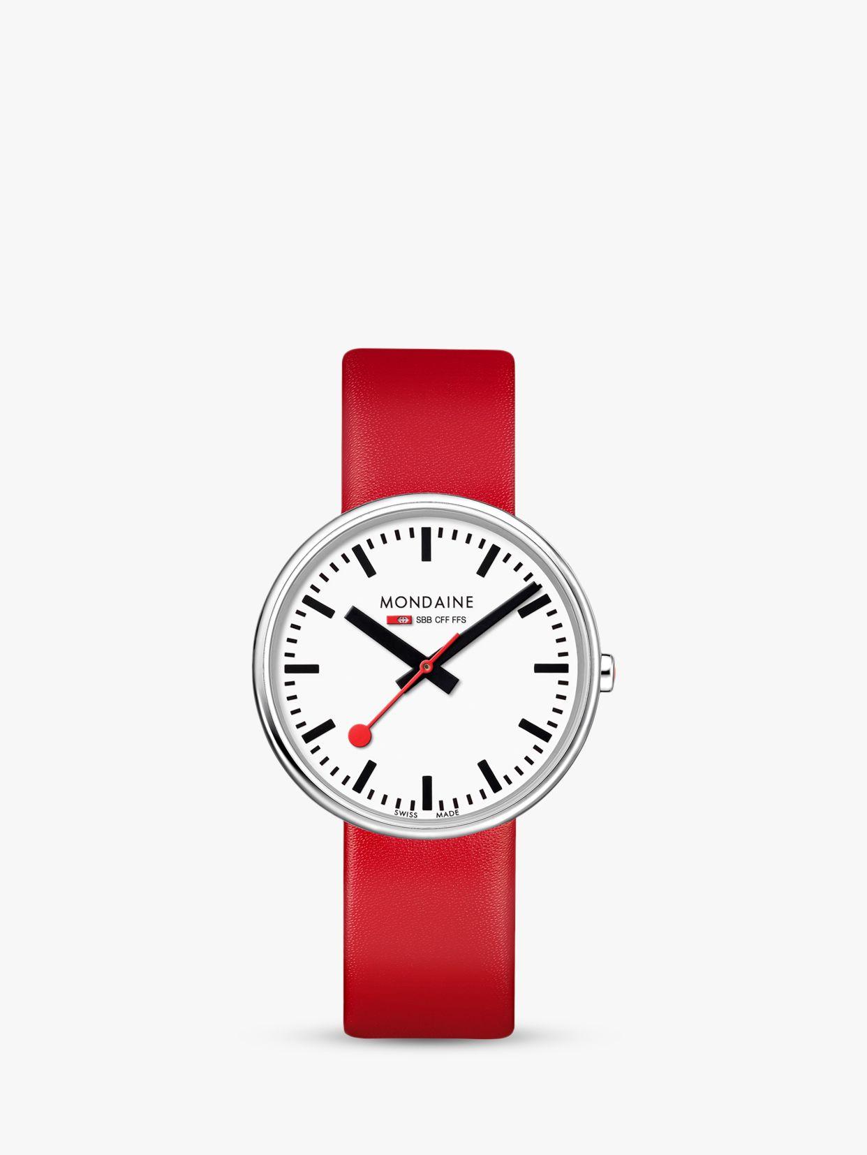 Mondaine Mondaine MSX.3511B.LC Unisex Mini Giant Leather Strap Watch, Red/White