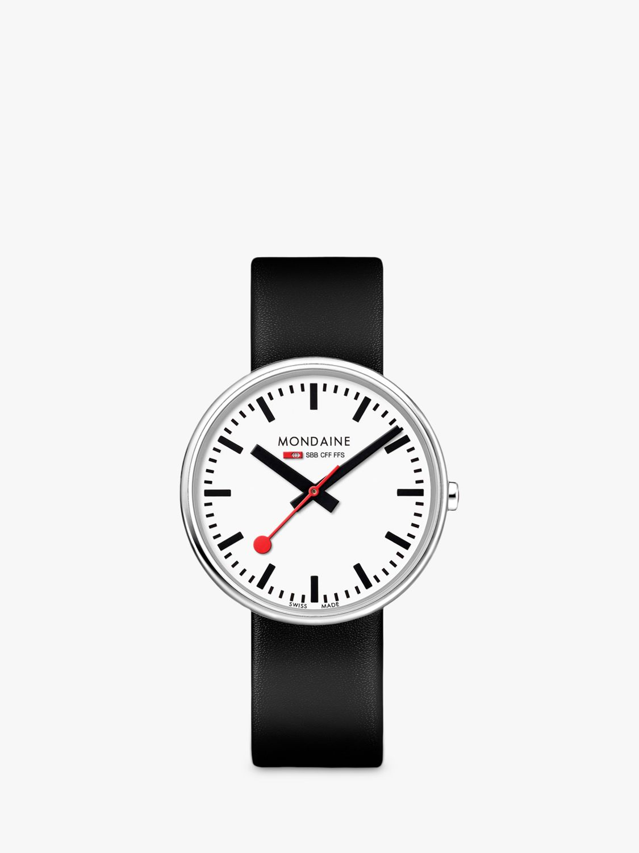 Mondaine Mondaine MSX.3511B.LB Unisex Mini Giant Leather Strap Watch, Black/White