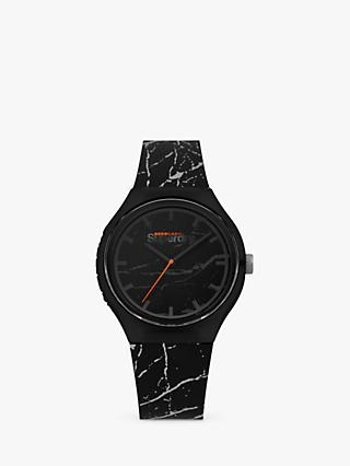 Superdry SYG253BE Unisex Urban Marble Silicone Strap Watch, Black