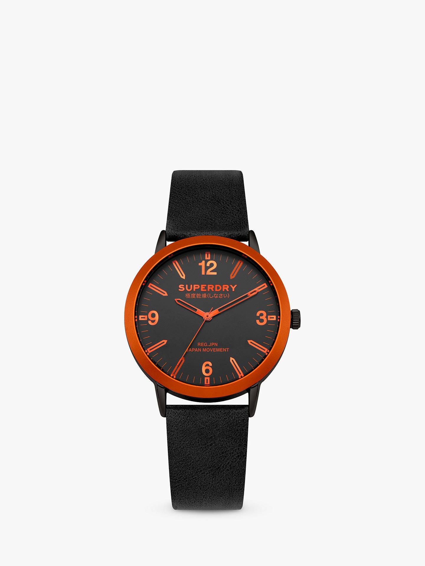 Superdry Syg259b Unisex Kobe Leather Strap Watch Black