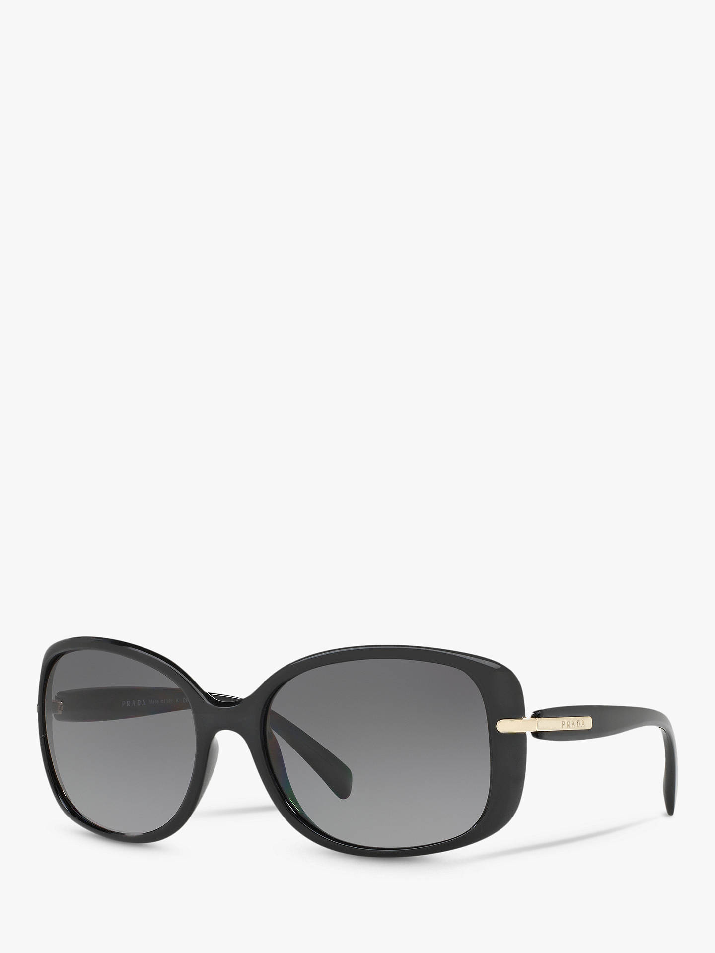 dc1bfa608858 Buy Prada PR 08OS Women's Polarised Rectangular Sunglasses, Black/Grey  Gradient Online at johnlewis ...