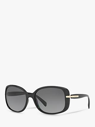 Prada PR 08OS Women's Polarised Rectangular Sunglasses, Black/Grey Gradient