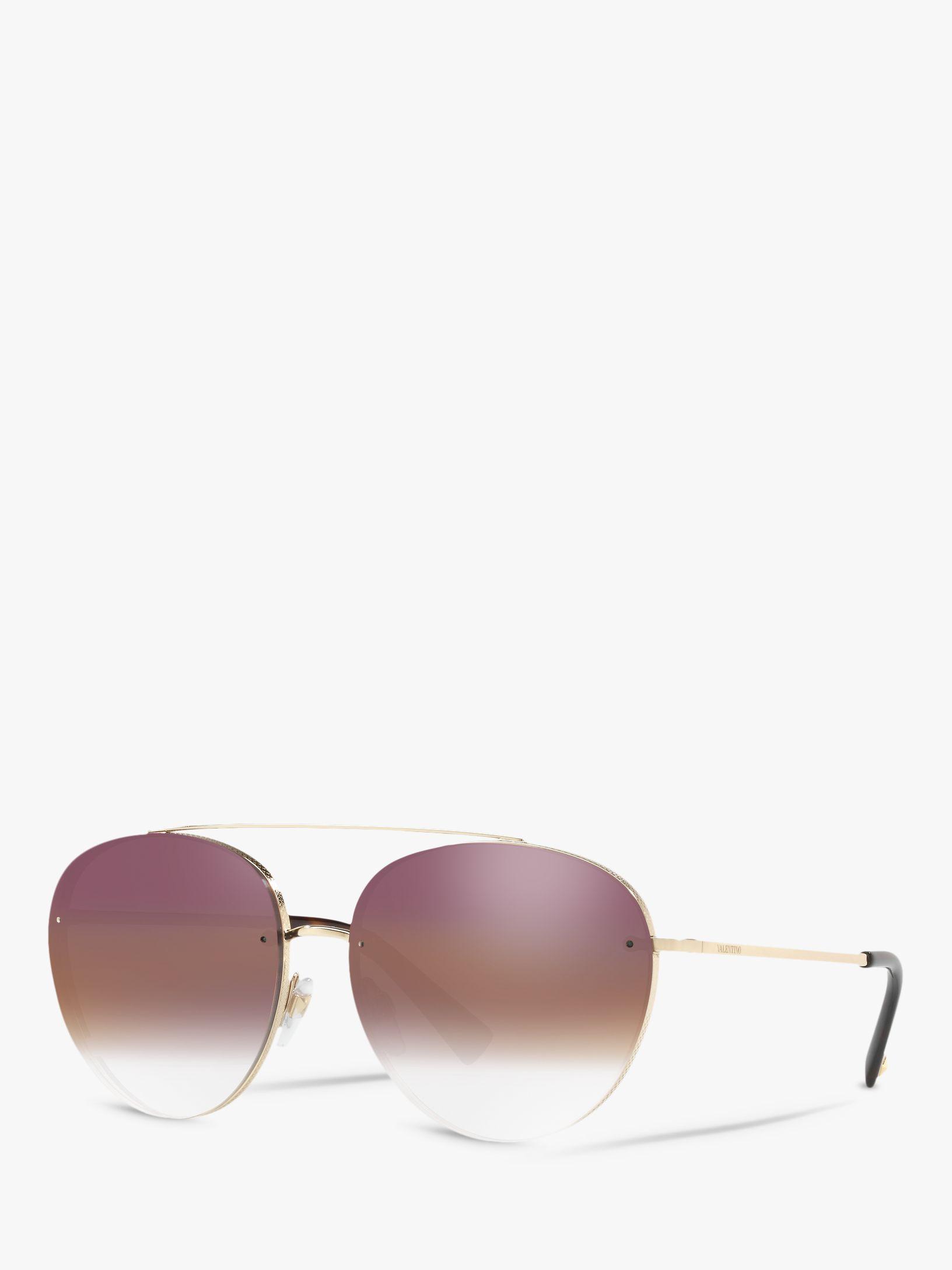 Valentino Valentino VA2009 Women's Aviator Sunglasses, Gold/Mirror Pink