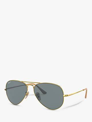 Ray-Ban RB3689 Unisex Polarised Aviator Sunglasses, Gold/Blue