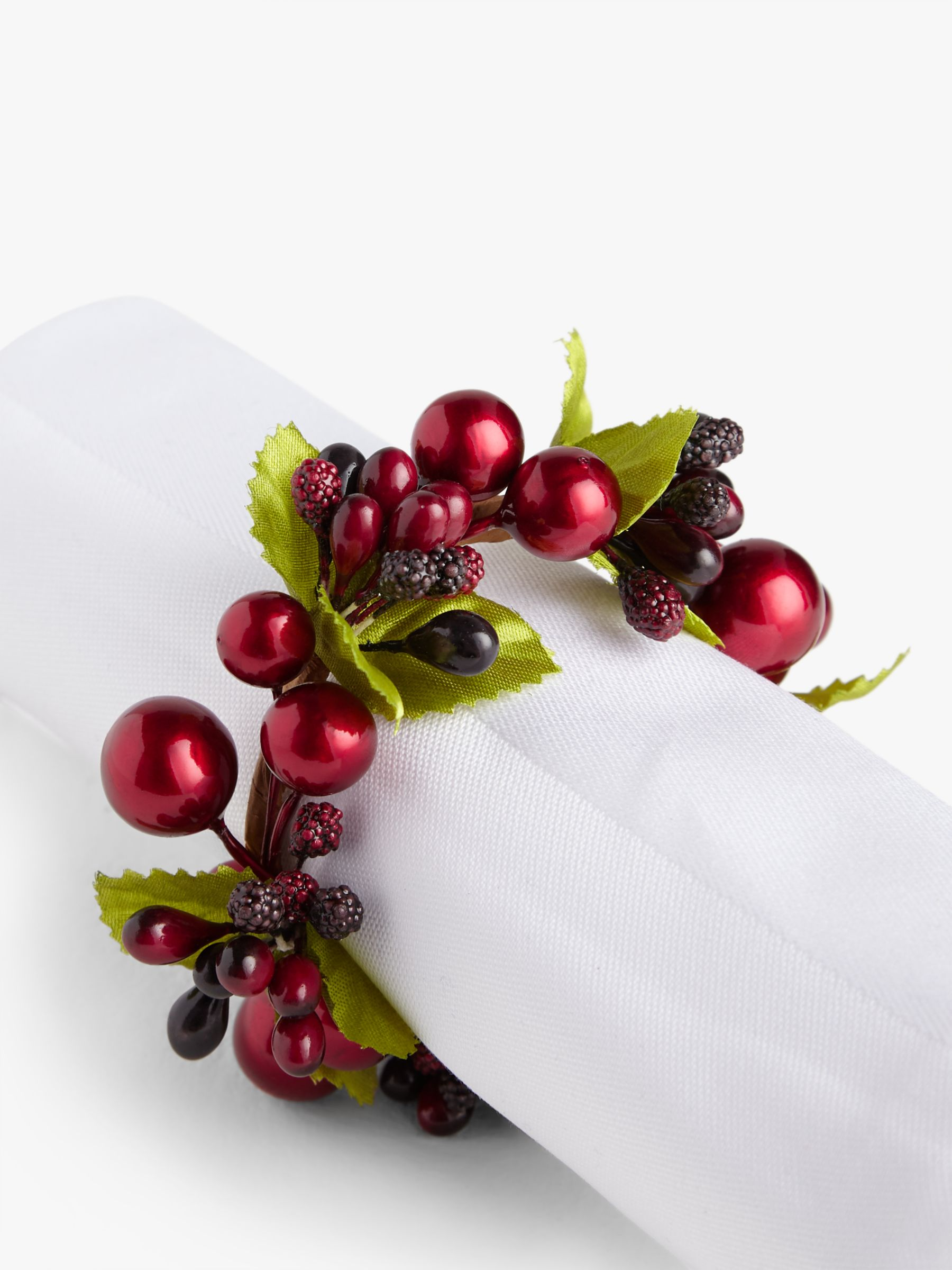 John Lewis Partners Christmas Cranberries Napkin Rings Set Of 4 Red At John Lewis Partners