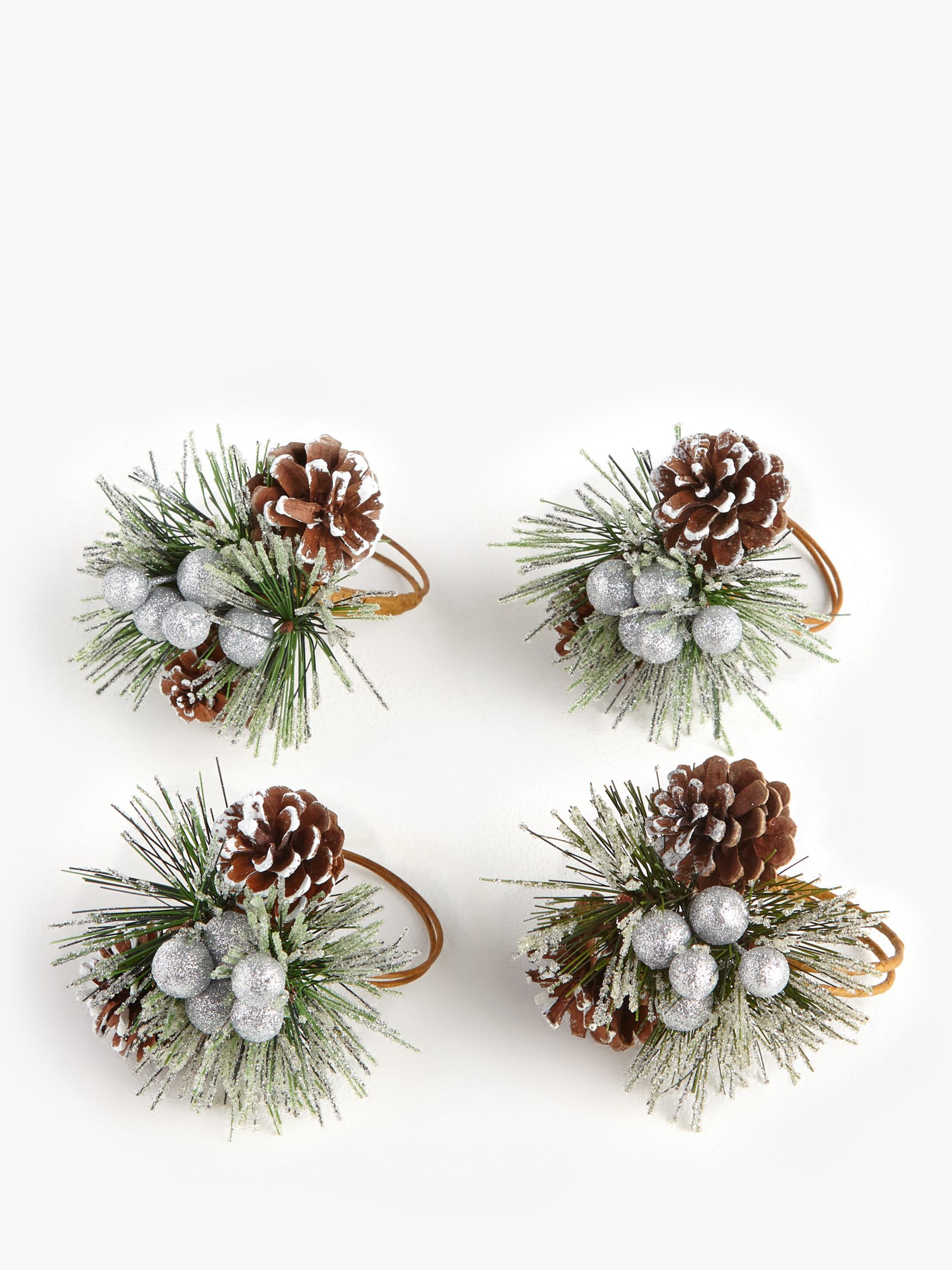 John Lewis Partners Christmas Pinecone Napkin Rings Set Of 4 Natural Multi At John Lewis Partners