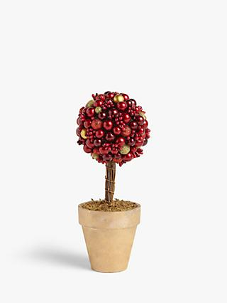 John Lewis & Partners Cranberry Tree Table Decoration, H25cm, Red