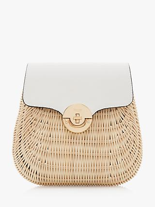 Dune Daimie Woven Straw Backpack, White/Natural