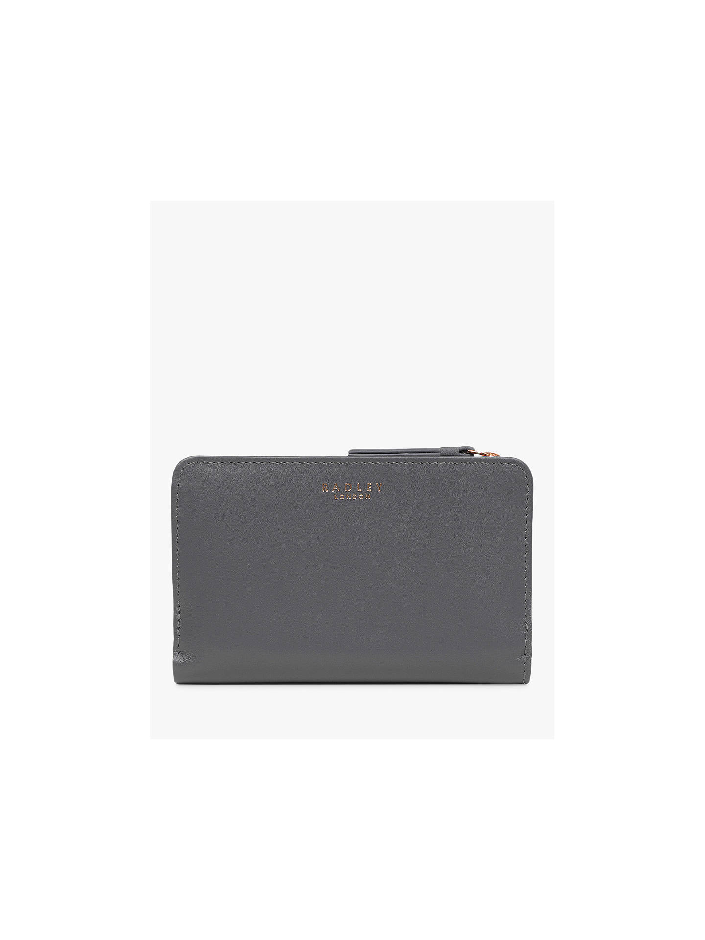 Buy Radley Heritage Dog Outlined Medium Leather Zip Purse, Charcoal Online at johnlewis.com