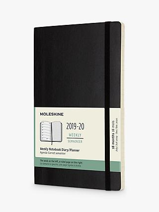 Moleskine 18 Months Weekly A5 Soft Cover Diary, Black