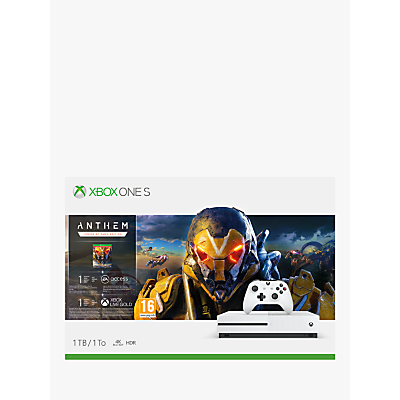 Microsoft Xbox One S Console, 1TB, with Wireless Controller and Anthem game