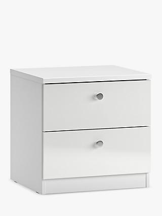 House by John Lewis Mix it 2 Drawer Bedside Table, Chrome Knob Handles, Gloss White