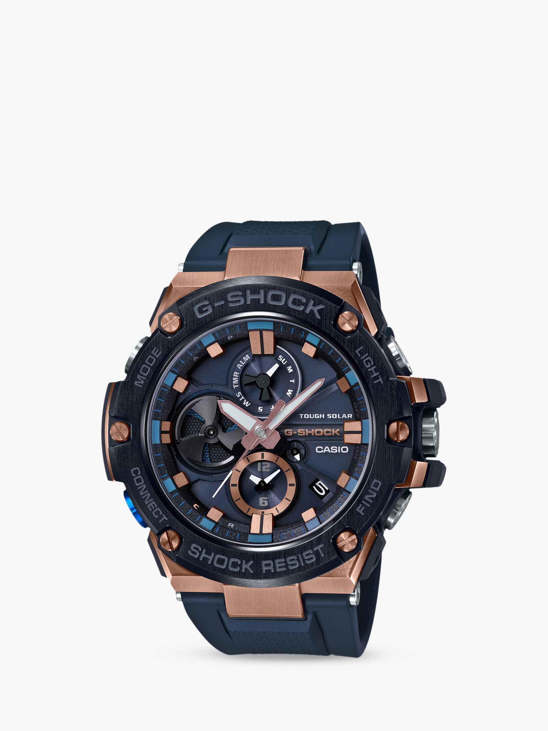 eb42cf962e Casio GST-B100G-2AER Men's G-Shock G-Steel Chronograph Connected Resin  Strap Watch, Navy