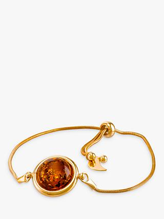 Be-Jewelled Round Amber Snake Chain Bracelet, Gold/Cognac