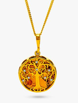 Be-Jewelled Amber and Cubic Zirconia Tree Pendant Necklace, Gold/Cognac