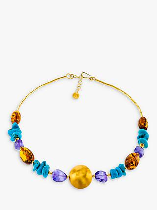 Be-Jewelled Amber Amethyst and Turquoise Statement Necklace, Multi