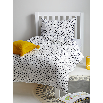 little home at John Lewis Geometric Duvet Cover and Pillowcase Set, Single, White/Black