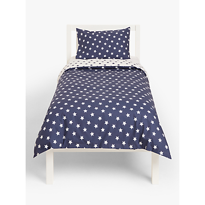 little home at John Lewis Star Reversible Duvet Cover and Pillowcase Set, Single, Blue