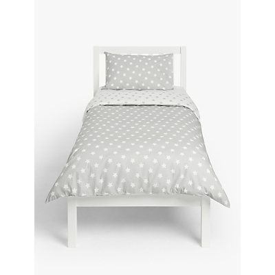 little home at John Lewis Star Reversible Duvet Cover and Pillowcase Set, Single, Grey