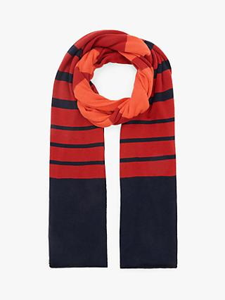 John Lewis & Partners Jersey Knit Stripe Scarf, Red Mix