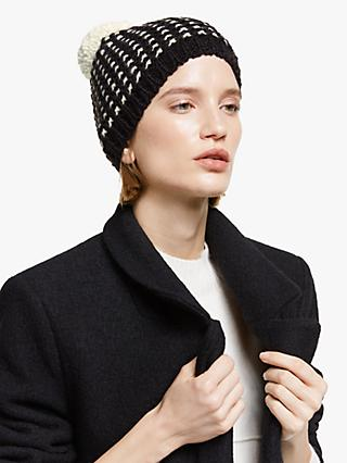 John Lewis & Partners Grid Stitch Knitted Beanie, Black Mix