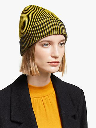 John Lewis & Partners Colour Block Plaited Rib Knit Beanie, Ochre Mix