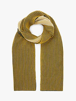 John Lewis & Partners Colour Block Plaited Rib Scarf, Ochre Mix