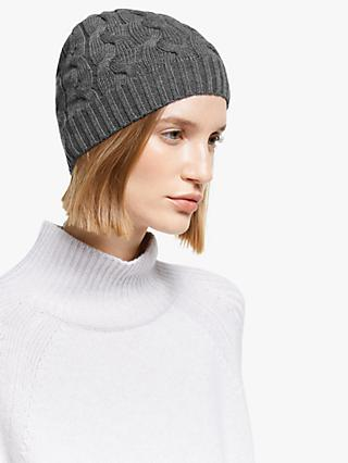 John Lewis & Partners Fine Cable Knit Beanie, Dark Grey