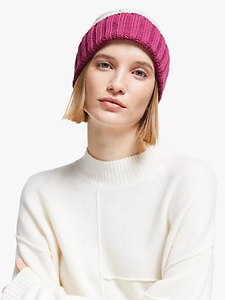 John Lewis & Partners Chunky Cable Beanie, Cream Mix