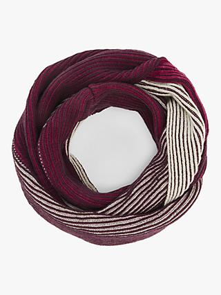 John Lewis & Partners Colour Block Plaited Rib Snood, Pink Mix